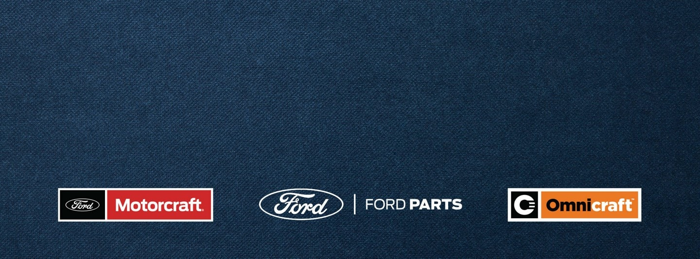 Logos for Motorcraft, Ford Parts, and Omnicraft on a blue background