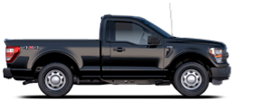 2021 Ford F 1 50 in Agate Black shown from passenger side angle