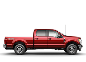 2020 SuperDuty side profile view shown in Lucid Red Metallic Clearcoat