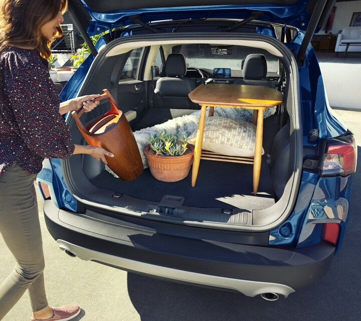 Rear cargo space of 2020 Ford Escape Hybrid Titanium in Velocity Blue