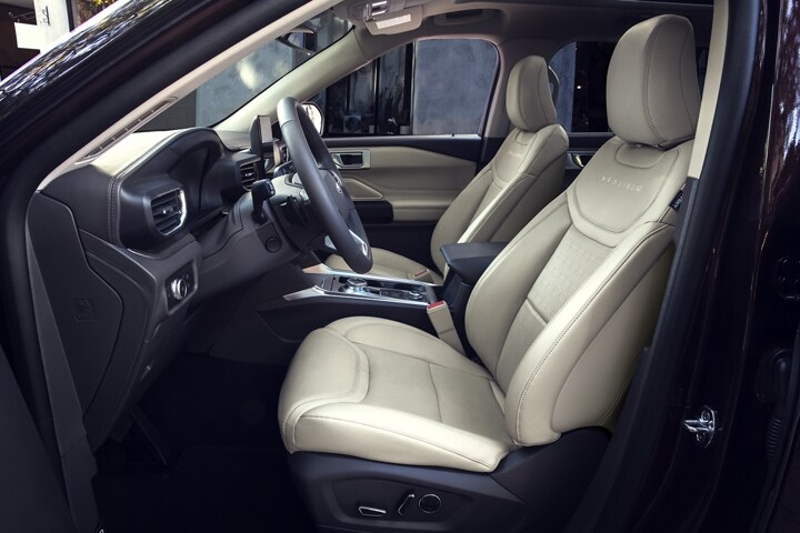 2021 Ford Explorer Platinum tri diamond perforated leather seating surfaces with accent stitching in Light Sandstone