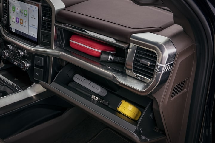 The dual glove box in a 2021 Ford F 1 50