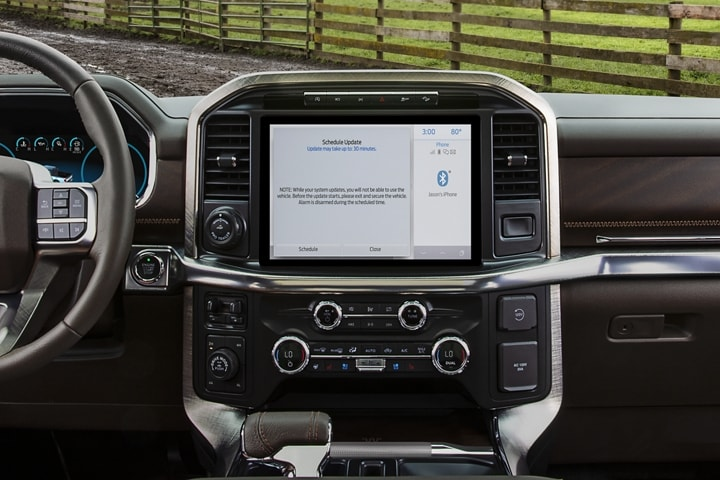 A 2021 Ford F 1 50 interior featuring the twelve inch centre touchscreen