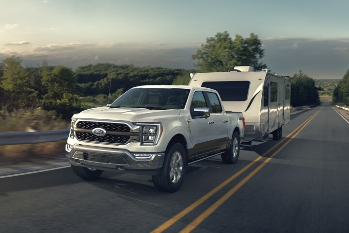 A 2021 Ford F 1 50 towing a trailer
