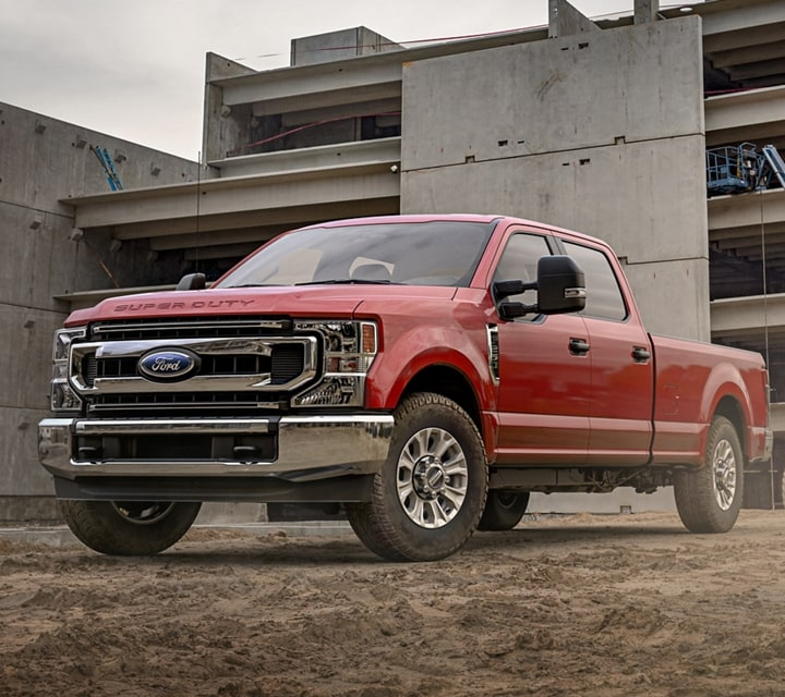 2021 Ford Super Duty F 2 50 X L T Crew Cab in Rapid Red at worksite